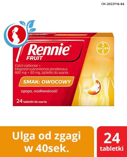 Rennie Fruit o smaku owocowym – 24 tabl. do ssania, na zgagę, refluks i niestrawność - cena, opinie, właściwości