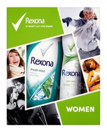 REXONA WOMEN  Aloe Vera antyperspirant w aerozolu - 150 ml + Fresh Mint żel pod prysznic - 250 ml