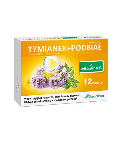 Sanopharm Tymianek + Podbiał Z Witaminą C - 12 past. - cena, opinie, właściwości - Drogeria Melissa