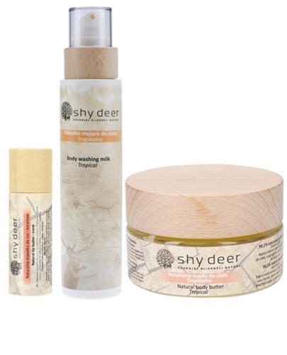 Shy Deer Naturalne masełko do ust - koralowe - 12 ml + Naturalne masło do ciała tropikalne - 100 ml + Mleczko myjące do ciała tropikalne - 200 ml - Drogeria Melissa