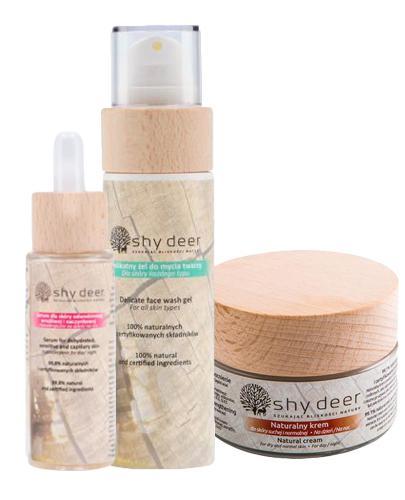 Shy Deer Naturalny krem dla skóry suchej i normalnej - 50 ml + Delikatny żel do mycia twarzy dla skóry każdego typu - 100 ml + Serum dla skóry odwodnionej, wrażliwej i naczynkowej - 30 ml - Drogeria Melissa