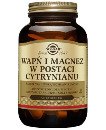 SOLGAR WAPŃ I MAGNEZ w  postaci cytrynianu - 100 tabl.