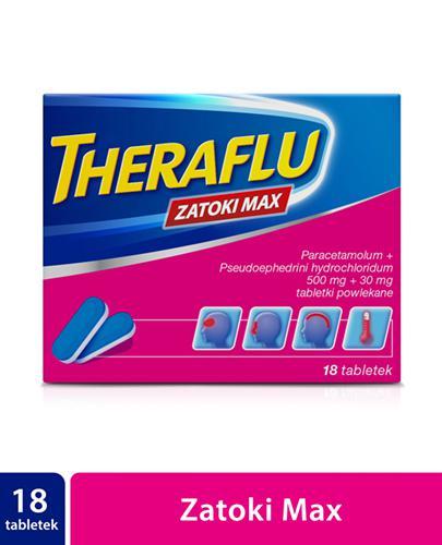 THERAFLU ZATOKI MAX - 18 tabl. - zwalcza objawy grypy i przeziębienia - cena, dawkowanie, opinie