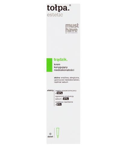Tołpa Estetic Trądzik Krem korygujący niedoskonałości - 40 ml Do skóry trądzikowej i tłustej - cena, opinie, stosowanie - Drogeria Melissa