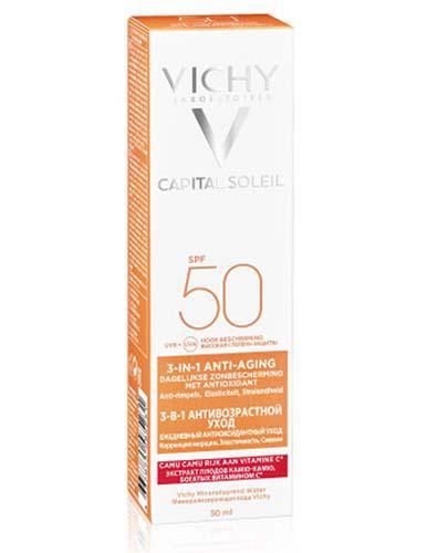 VICHY IDEAL SOLEIL Krem przeciwstarzeniowy do twarzy 3w1 SPF50 - 50 ml - cena, opinie, właściwości