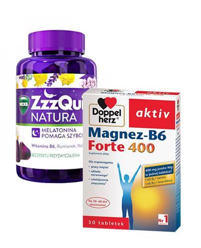 Vicks ZzzQuil Natura o smaku owoców leśnych - 60 Żelek + DOPPELHERZ AKTIV Magnez B6 Forte 400 mg - 30 tabl. - Apteka internetowa Melissa