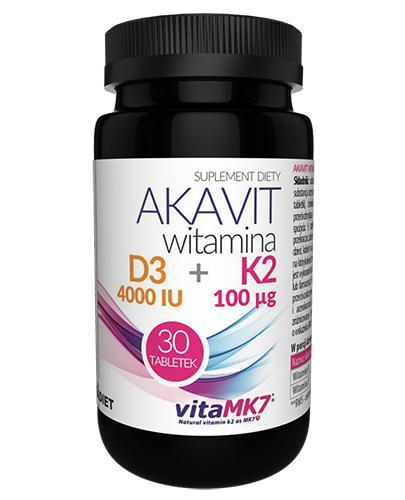 Vitadiet Akavit Witamina D3 4000 IU + K2 100 µg - 30 kaps. - cena, opinie, wskazania - Drogeria Melissa