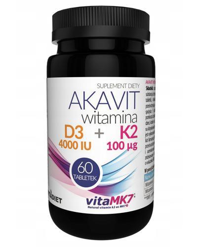 Vitadiet Akavit Witamina D3 4000 IU + K2 100 µg - 60 kaps. - cena, opinie, dawkowanie - Drogeria Melissa