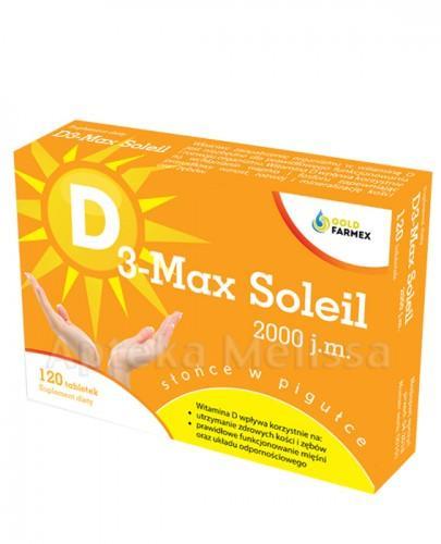 D3 MAX SOLEIL  WITAMINA D 2000 j.m. - 120 tabl. Data ważności: 2018.06.30 - Apteka internetowa Melissa